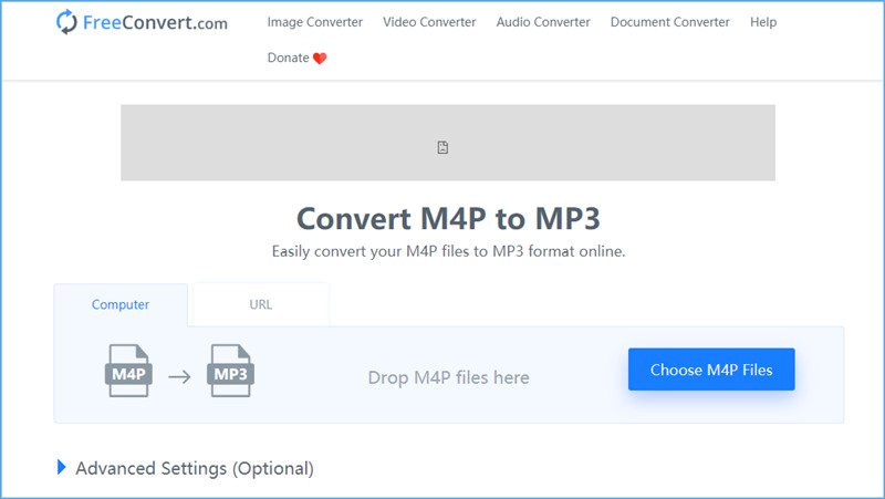 Convert M4P to MP3 in FreeConvert
