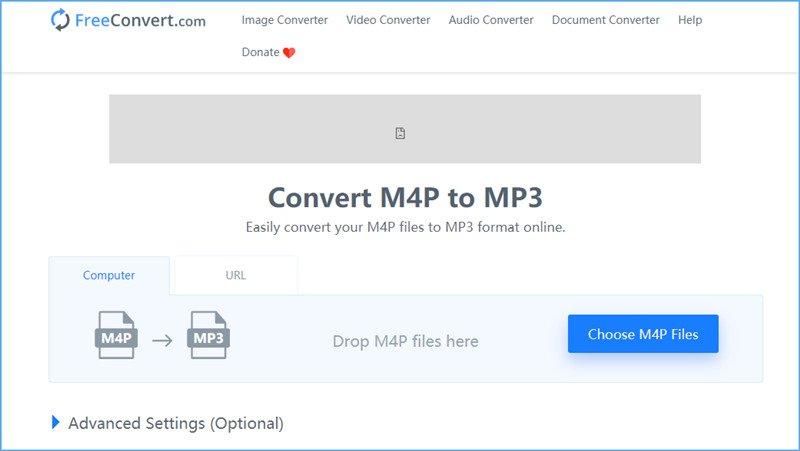 在FreeConvert中將M4P轉換為MP3