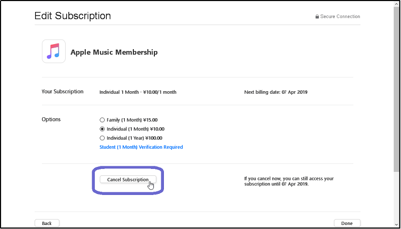 Annulation de l'abonnement Apple Music via un ordinateur personnel