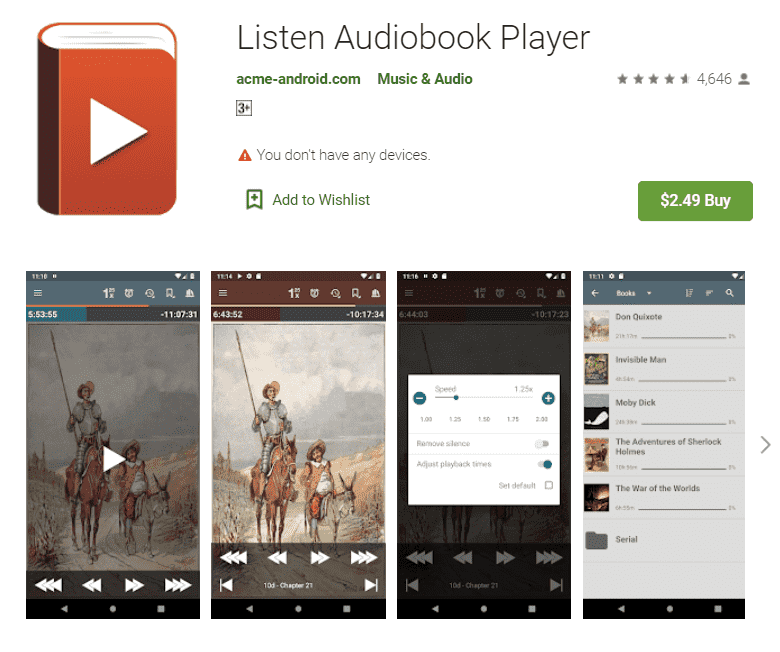 Play iTunes M4B Audiobooks Using Listen Audiobooke Player
