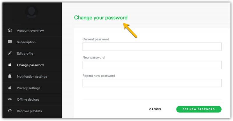Changer le mot de passe Spotify