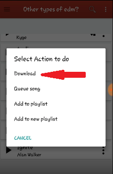 Click on a Song to Download