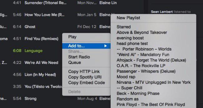 Wählen Sie einen Playlistennamen oder erstellen Sie einen neuen