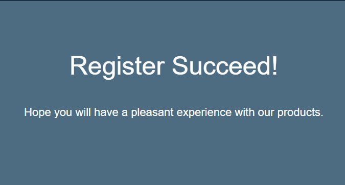 Register Succeed