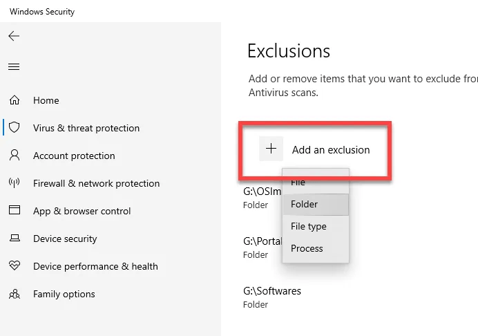 Add An Exclusion