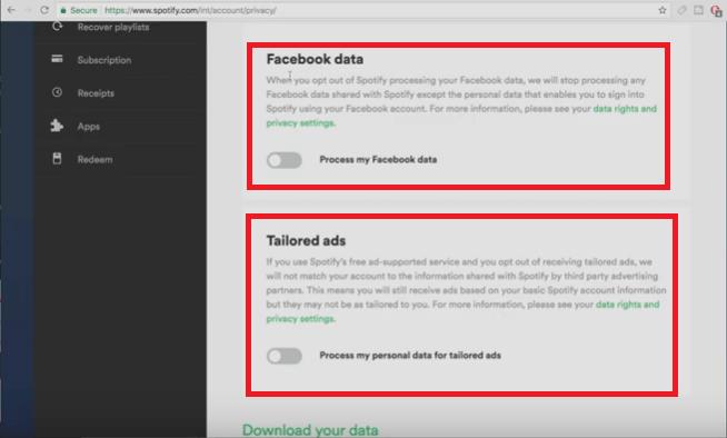 Schakel Facebook-gegevens en op maat gemaakte advertenties uit
