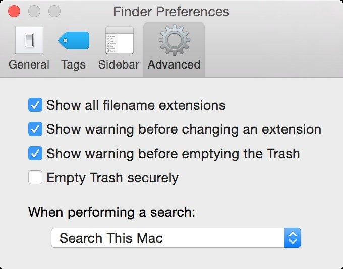 Finder Preferences in Mac