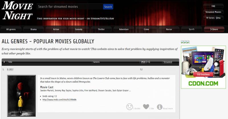 Site van MovieNight