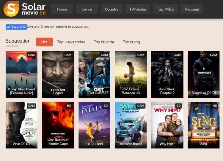 SolarMovies Website